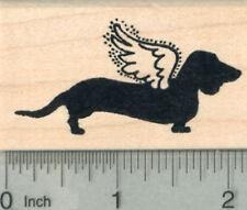 Dachshund Angel Rubber Stamp, Pet Loss Silhouette Series, Dog G29815 WM