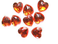 80 Orange Love Heart Faceted Beads Acrylic Rhinestones/gems 16 Mm Flatback Sewon