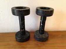 Lot de 2 haltères  poids fitness musculation biceps sport vintage rétro Ancien