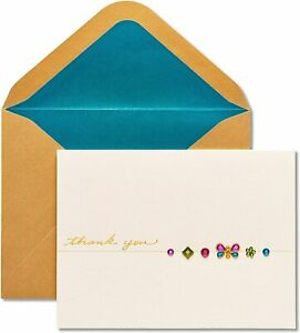 Beautiful Papyrus Thank You Card with Butterfly & Flower Gems, Gold Embossing