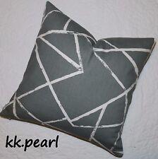 "Modern Bold Cushion Cover 20"" JOHN LEWIS CRAKLE Fabric Reversible Grey / White"