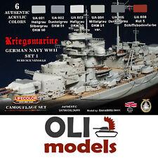KRIEGSMARINE GERMAN WWII NAVY SET 1 - Acrylic Paint Set 6x20ml  LIFECOLOR CS-09