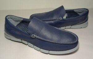 Skechers Size 13 ON THE GO BIONIC MOC Blue Leather Loafers New Men's Shoes