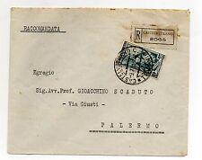 STORIA POSTALE 1951 REPUBBLICA LAVORO LIRE 65 SU RACC. CASTELCETRANO 9/7 D07736