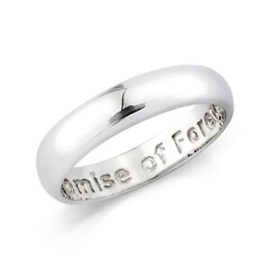 Sterling Silver Gents Message Commitment Ring 5mm Band
