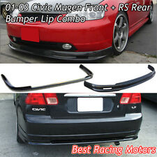 Mu-gen Style Front (PU) + RS Style Rear Bumper Lip (PP) Fit 01-03 Civic 4dr