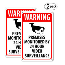 (2) Warning Security Cameras In Use ~ Home Video Surveillance cctv Camera Signs