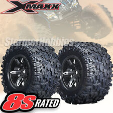 Traxxas Tires & Black Wheels Assembled for your X-Maxx 8S rated TRA7772X