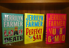 Lot of 3 Jerrilyn Farmer HC/DJ Signed Mumbo Jumbo Perfect Sax Luau Death