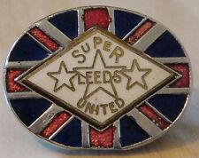 LEEDS UNITED FC Vintage badge Maker AEW B'ham Brooch pin In chrome 32mm x 25mm
