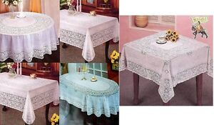 ROUND OVAL & RECTANGLE VINYL WHITE EMBOSSED LACE TABLE CLOTH TABLE COVER KITCHEN