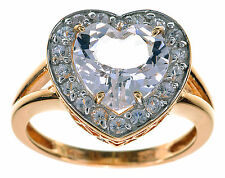 14K Yellow Gold 3.50 Ct tw Danburite & White Sapphire Heart Ring Size 6