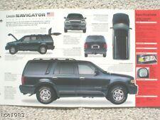 1998 LINCOLN NAVIGATOR SPEC SHEET/ Brochure/Catalog