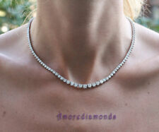 """9.2 ct G SI1 diamond tennis graduated 3prong martini necklace 14k white gold 16"""""""