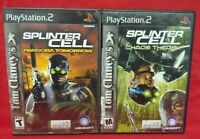 Tom Clancy Splinter Cell Chaos + Pandora -  PS2 Playstation 2 Tested 2 Game Lot