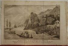NOOTKA SOUND CANADA 1796 MEARES & PAGANI UNUSUAL ANTIQUE COPPER ENGRAVED VIEW
