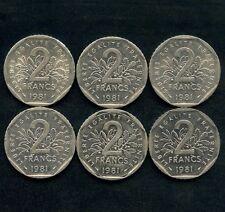 Lot Of 6 1981 France 2 Franc Coins