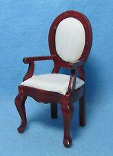 Dollhouse Miniature Kitchen / Dining Arm Room Chair Cream Fabric ~ T3582