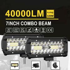 "2x 7'' inch LED Light Bar Spot Flood Combo Work OffRoad Driving 400W Lamp 6"" 8"""