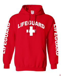 NW MEN'S LIFEGUARD PULLOVER HOODIE JACKET BEACH SAFETY POOL STAFF SWEATSHIRT RED
