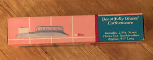 Vintage RARE Children's Kids Blue Ceramic Toothbrush Holder Wall Mounted 1990