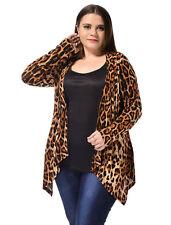 Lady Plus Size Long Sleeves Leopard Prints Spring Cardigan Beige 3x