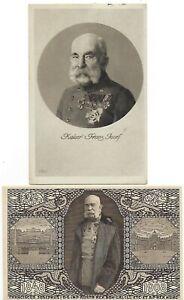 SELTENE KARTEN AUS 1914+1915  KAISER FRANZ JOSEPH- EINE GELAUFEN