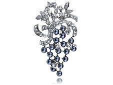 Tone Bead Berry Fruit Pin Brooch Silver Crystal Rhinestone Faux Pearl Silver