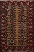 Vintage Geometric Balouch Hand-Knotted Area Rug Oriental Light Brown Carpet 4x7