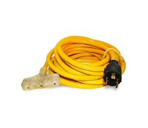 10/3 25ft Generator Power Extension Cord Male L5-20P Plug 5-15R Female 3 Outlet