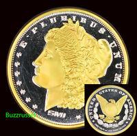 Morgan Dollar Design Sunshine 24k Gold Gilded 1 oz. .999 Fine Silver Round