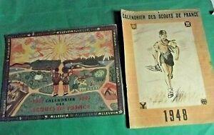 LOT de 2 CALENDRIERS  DES SCOUTS DE FRANCE  1948 & 1949+ Une REVUE GUIDES 1951