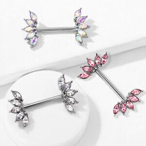 PAIR Marquise Crystal Gem Fans Nipple Rings Shield Steel Barbells Surgical Steel