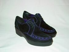 Womens ESPRIT Unique Platform Suede Oxfords Creepers Chukkas Black Purple 9 M
