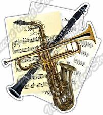 "Music Sheet Instruments Horn Clarinet Notes Car Bumper Vinyl Sticker Decal 4""X5"""