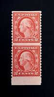 US Stamps, Scott #540a 1919 Vert pair, imperf horiz Type lll XF M/NH Beautiful!