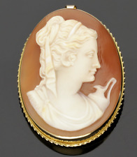 18CT GOLD CAMEO BROOCH/PENDANT