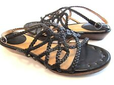 7.5 M black FREY AVERY braided WOVEN sandal NAIL HEADS low HEEL Excellent +BOX