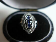 9ct gold on silver 925  sapphire and white cz navette ring