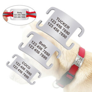 """No Noise Personalised Slide On Dog Tags for 1/4""""-1.0"""" Collars Dog Name Engraved"""