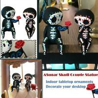 Craft Resin Sugar Skull Couple Statue Loving Statue Skull Resin Flowers