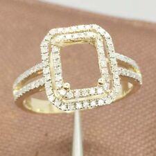 6x8mm Emerald Cut Solid 14k Yellow Gold Natural Diamond Semi Mount Ring