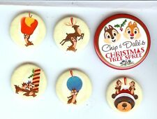 "DISNEY PARKS EXCLUSIVE 1"" BUTTON PIN CHIP & DALE'S CHRISTMAS TREE SPREE SET OF 6"