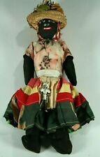 "Vintage 1940s Handmade Island Souvenir Cloth Fabric & Yarn Black Woman 13"" Doll"