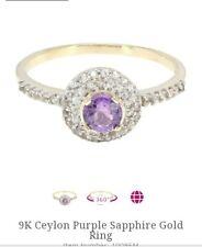 Size M Ceylon Purple Sapphire & White Sapphire 9k Gold Ring Hallmarked 375