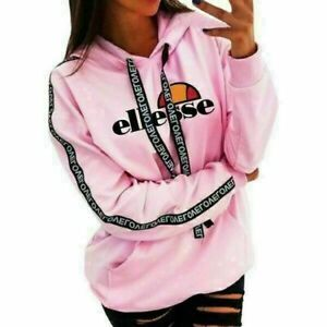 Ellesse Hoodie Women Long Sleeve Cropped Sweatshirt Lounge Wear Jumper Coat Tops