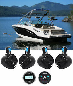 "Memphis Audio MXA1MC Marine Bluetooth Receiver+Remote+4) 6.5"" Wakeboard Speakers"