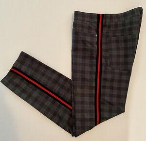 Hugo Boss Mens 38x32 Pants Gray/Black Plaid Stretch Excellent Condition