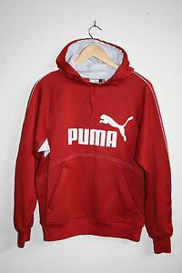 Puma Sport Outdoor Men's Hooded Jumper Red Runner Front Large Slip Pockets SizeS
