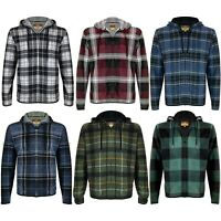 Men's Soft Sherpa Lined Zip Up Two Pocket Long Sleeve Flannel Hoodie